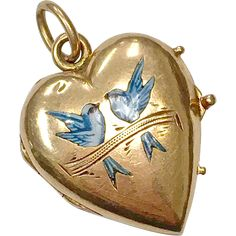 Antique Victorian solid 14 karat rose gold heart locket with enamel lovebirds Edwardian Jewelry, Antique Jewelry, Vintage Jewelry, Gold Heart Locket, Heart Of Gold, Vintage Lockets, Vintage Trends, Jewelry Quotes, Enamel Jewelry