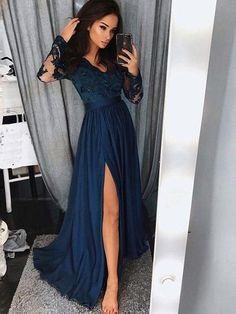 e960963df5 Blue Lace Prom Dresses With long Sleeves High Split Lace Evening Dresses  Prom. V Neck ...
