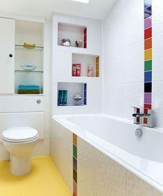 Looking for bathroom storage ideas? Bathroom storage is key to a successful bathroom makeover. Take a look at these bathroom storage hacks Bathroom Color Schemes, Bathroom Tile Designs, Bathroom Colors, White Bathroom, Modern Bathroom, Colorful Bathroom, Bathroom Ideas, Colour Schemes, Color Combinations