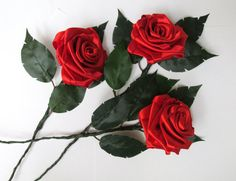 12 inch Satin Ribbon Red Rose by NansHandmades on Etsy- These are beautiful !!