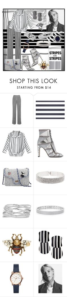 """Stripes on Stripes"" by jeneric2015 ❤ liked on Polyvore featuring Victoria, Victoria Beckham, e by design, Sergio Rossi, Natasha, M&Co, Anne Sisteron, Gucci, Lele Sadoughi, FOSSIL and stripesonstripes"