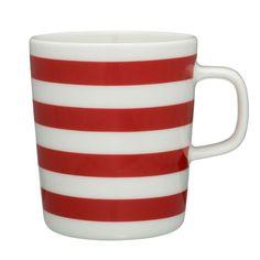 Marimekko Tasaraita mug. interior, kitchen, dish, red and white stripes