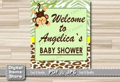 Monkey Welcome Sign Baby Shower - Welcome Baby Shower Sign Monkey - Welcome Sign Monkey Green Brown - Welcome Shower Sign - Custom Baby Sign by DigitalitemsShop on Etsy
