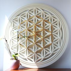Flower of Life Gold Seed of Life - Sacred Geometry wall art carved in wood. Ideal spiritual gifts for your awakened loved ones. Spiritual Symbols, Spiritual Gifts, Yoga Studio Design, Deco Zen, Sacred Geometry Art, Geometry Tattoo, Days Of Creation, Power Of Meditation, Sri Yantra