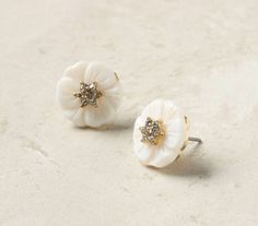 pretty and simple white flower #earrings