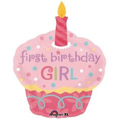 Sweet Little Cupcake Girl 1st Birthday SuperShape Balloon Party Accessory (1 count) by Amscan, www.amazon.com/...