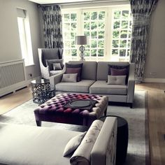 Curtains, blinds, armchairs, sofas, cushions and footstools. All made to measure by London Cushion Company. Armchairs, Sofas, Handmade Headboards, Made To Measure Curtains, Bespoke Furniture, Soft Furnishings, Blinds, Upholstery, Cushions