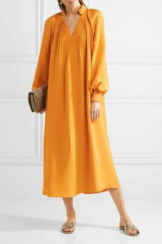 €1495 TIBI  Plissé silk crepe de chine midi dress