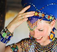 bride in Zulu wedding outfit African Hats, African Women, African Dress, African Beads Necklace, African Jewelry, Zulu Wedding, Boho Wedding, Wedding Blog, South Africa Honeymoon