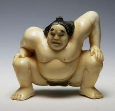 Japanese Ivory Netsuke Of Sumo Wrestler - For sale on Ruby Lane