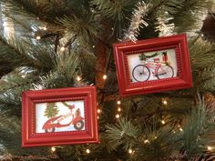 DIY Framed Ornaments - The Shabby Tree How To Make Christmas Tree, Christmas Stuff, Tree Crafts, Diy Crafts, Christmas Decorations, Christmas Ornaments, Holiday Decor, Paint Stick Crafts, Painted Sticks