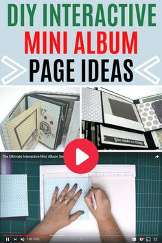 DIY interactive mini album pages step by step video tutorial that shows you EVEYTHING you need to know without holding any details or secrets! Make your ultimate interactive mini album! Mini Albums Scrap, Mini Scrapbook Albums, Diy Mini Album Tutorial, Baby Mini Album, Envelope Book, Handmade Books, Book Making, Bookbinding, Mini Books