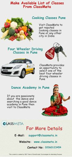 Classmeta contains all the the classes listed on their website. So, by visiting this site, you can get list of classes without paying any charges eg. List of four wheeler driving classes in Pune