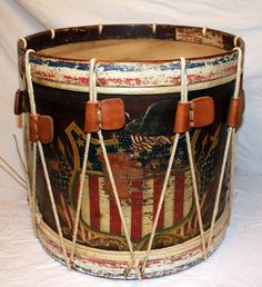 Macculloch Hall Historical Museum Gone for a Soldier Civil War exhibit_hand painted drum used by Musician William H. Berry, Co. K, 12th N.J. Vol. Infantry. Private collection.