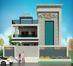 Hiring a good contractor is as difficult as purchasing a house. 3d House Plans, Indian House Plans, Dream House Plans, Bungalow House Design, House Front Design, Modern House Design, Duplex House, Front Elevation Designs, House Elevation