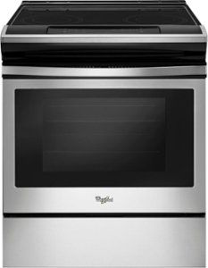 Whirlpool 30 Inch Slide-In Electric Range with 4 Elements, Ceramic Glass Cooktop, Adjustable Self Cleaning and Frozen Bake Technology in Stainless Steel