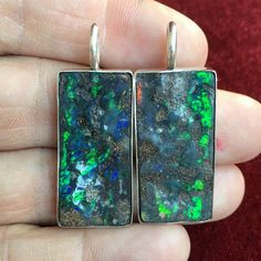 Boulder Opal Pendant 925 Sterling silver Split Pair Large Rectangular Bright Blue Green Yellow Orange Fire Friendship Stones Free Shipping by PeninnahOpals on Etsy https://www.etsy.com/listing/286548651/boulder-opal-pendant-925-sterling-silver