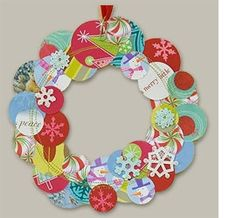 Recycled Christmas or greeting cards make a wonderful wreath for hanging as part of your indoor decor.    Use a craft punch to cut out all the circles, or any other shape you like. Glue to a cardboard circle (or square, or whatever) and hang with a beautiful length of ribbon or fabric.