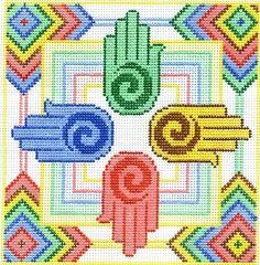 "Spiritual needlepoint - Healing Hands, hand-painted, 7"" x 7"" on 13 mesh canvas, Made in Sedona, Arizona"
