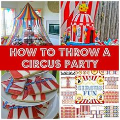 Circus Party Ideas, Amazing Construction Parties, and How to Make a Paper Plate Backdrop Vintage Circus Party, Circus Carnival Party, Circus Theme Party, Carnival Birthday Parties, Carnival Themes, Circus Birthday, First Birthday Parties, Birthday Party Themes, Birthday Ideas