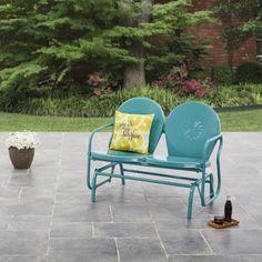 Mainstays Retro Outdoor Glider Bench - Yellow - Walmart.com