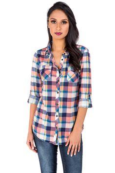 Button Tab Plaid Shirt