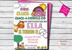 Farm girl birthday invitation Barnyard Invitation Barn yard Farm Animal Birthday, Farm Birthday, Barnyard Party, Farm Party, Chalkboard Designs, Farm Animals, Birthday Invitations, Whimsical, Doodles