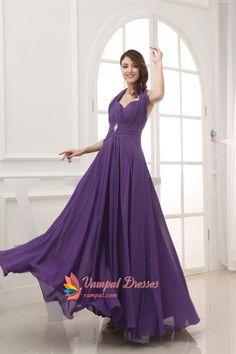 Purple Halter Prom Dresses, Long Chiffon Halter Bridesmaid Dresses