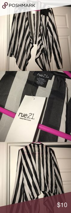 Rue21 stripped cardigan stripped cardigan, New with tags never worn, pleather detailing on the shoulders and the lining of the cardigan Rue21 Sweaters Cardigans