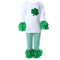 St.Patrick Kids Outfits Boutique Clothes Set Ruffle Green Stripe Children's Clothing St.Patrick Clover Children's Sets 2016