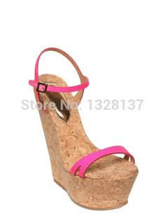 96.99$  Watch now - http://ali0yu.worldwells.pw/go.php?t=32723433610 - Casual Handmade Solid Plain Wedges Open Toe Buckle Strap Leather High Heels Sandals Platforms Shoes Woman sandalias femininas 96.99$