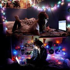emo punk rock bedroom string lights interior decoration