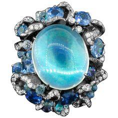 Arunashi Blue Moonstone Sapphire Titanium Ring