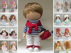 Rag doll Muñecas Boy doll Fabric doll Textile doll Handmade doll Tilda doll Art doll Red doll Soft doll Cloth doll Baby doll by Maria L