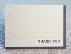 letterpress notecard: dotty yellow thank you. $4.00, via Etsy.
