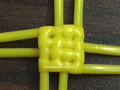 Quad stitch - biscuit knot tutorial - Indian wire baskets - plastic wire