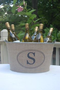 monogramed burlap wine bucket!