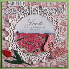 Karla-Krea:+Gefeliciteerd Jan 2017, Die Cut Cards, Marianne Design, Felt Hearts, Decorative Plates, Card Making, How To Make, Cards, Flowers