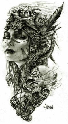 Tattoo design Tattoo Goddess tattoo, Hawaiian tattoo, Norse tattoo Here we have great photo about face tattoo designs price. Warrior Tattoos, Badass Tattoos, Sexy Tattoos, Body Art Tattoos, Sleeve Tattoos, Tattoos For Guys, Cool Tattoos, Female Hip Tattoos, Sleeve Tattoo Designs