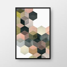 *** Printable Geometric Art, Geometric Print, Hexagon Poster, Modern Art, Modern…