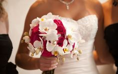 Modern Bridal Bouquet of White Phalaenopsis Orchids and Hot Pink Princess Roses - The French Bouquet - Artworks Tulsa Photography Red Peonies, Peonies Bouquet, Red Roses, Red Rose Bouquet, Phalaenopsis Orchid, White Orchids, Pink Princess, Wedding Bouquets, White Bouquets