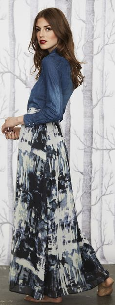 0f817017bb10 pair chambrey denim top with knee and maxi length skirts for a trendy modest  look