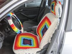 Items similar to Car Seat Cover, Crochet Car Front Seat Cover - rainbow colors on Etsy Autositzbezug Crochet Car Front Seat Cover aran / 7 rainbow Crochet Car, Crochet Home, Cute Crochet, Car Accessories Diy, Crochet Accessories, Car Seat Cover Pattern, Car Seat Cover Crochet, Van Seat Covers, Estilo Hippie