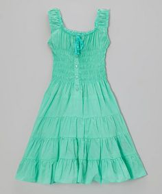 Another great find on #zulily! Jade Ice Shirred Dress - Toddler & Girls by Chillipop #zulilyfinds