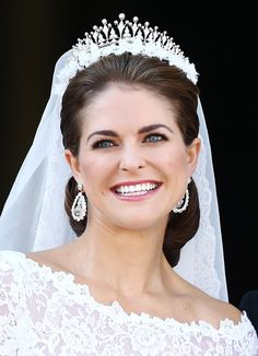 On her wedding day, Madeleine wore jewels that shined almost as bright as her smile.