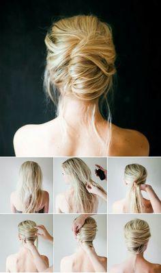 Comment faire un chignon banane - Hair Style 5 Minute Hairstyles, Step By Step Hairstyles, Up Hairstyles, Hairstyle Ideas, Hairstyle Tutorials, Bridal Hairstyles, Simple Hairstyles, Business Hairstyles, Easy Wedding Hairstyles