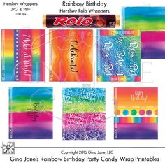 Printables - Rolo Wrappers - Rainbow Theme Birthday Parties for Kids Teens Adult Birthday Party DIY Party Favors - Hershey Candy Bar Wrappers - DAISIE COMPANY: Clipart, Printables, Graphics, DIY Crafts for Kids, Parties, Candy Wrappers, by artist Gina Jane for DAISIECOMPANY