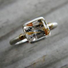 Rutilated Quartz Ring, 14k Gold and Argentium Sterling Silver, Emerald Cut Gemstone