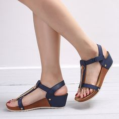 3d1d3007424f Women T Strap Hook Loop Clip Toe Wedges Heels Sandals is comfortable to  wear. Shop on NewChic to see other cheap women sandals on sale.