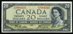 Canadian Currency - 20 dollars banknote Canadian bank notes Twenty Dollars Currency of Canada - 20 Canadian dollars banknote of . Ottawa, Canadian History, Canadian Dollar, 1st Bank, King George Iv, Canadian Things, Old Money, World Coins, Banknote